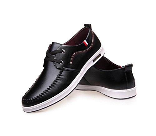 HYLM The New Men Business Chaussures décontractées Chaussures en peau de vachette Round Head Lace Soft Bottom Single Black