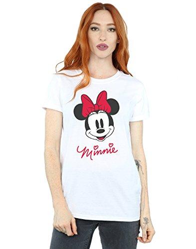 Disney Femme Minnie Mouse Face Petit Ami Fit T-Shirt Medium blanc
