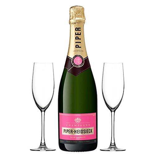 750ml Piper-Heidsieck Brut Rose Champagne con dos copas de champán - El regalo ideal para un cumpleaños, aniversario, Como agradecimiento