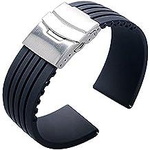 Ritche Cinturino impermeabile in gomma siliconica per orologio da polso da 18/20/22mm Cinturino di ricambio per Citizen Lg G-watch Seiko, 18MM