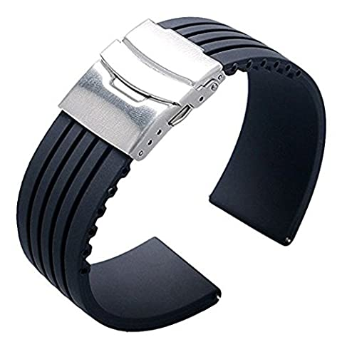 Ritche 22mm Rubber Replacement Wristband,Waterproof Silicone Rubber Watch Strap Band Deployment Buckle for Citizen Lg G-watch