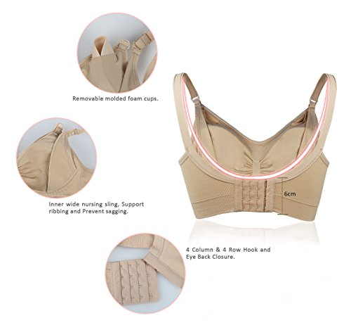 iLoveSIA Womens Maternity Nursing Bra 3Pack Beige+Black+Pink L Fit 34CD 36BC 38AB