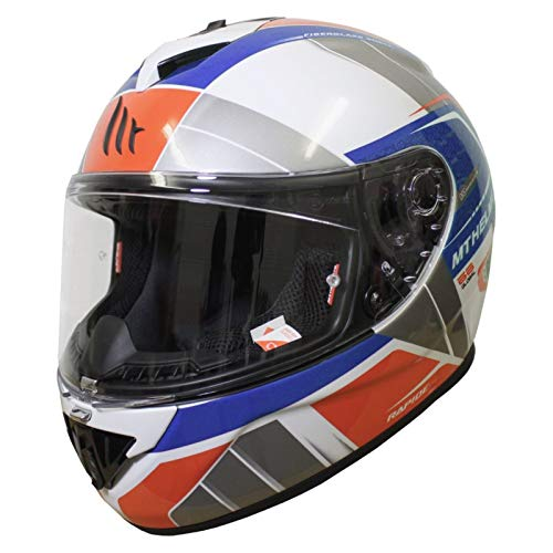 MT Casco Moto 2019 Rapide Global Blanco-Azul-Rojo