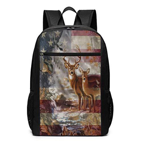 TRFashion Rucksack Americana Flag Deer 17 Inch College Laptop Notebook Bag Backpack Schoolbag Book Bag for Men Women Black - Notebook-tasche Spade Kate