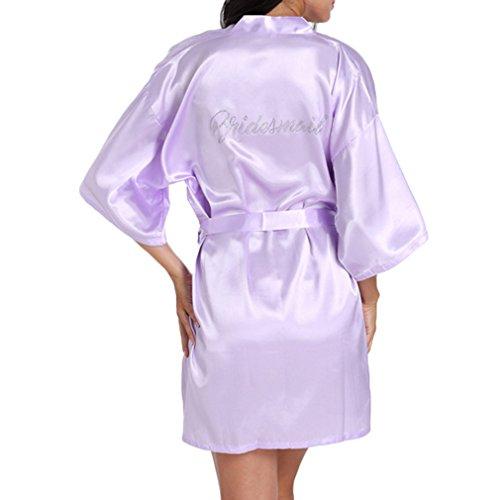 Yying Satin Brautjungfer Rob Hochzeit Party Kurze Kimono Robe Silk Satin Dressing Kleider für Hochzeitsgeschenke Strass Brautjungfer Bademantel (Satin-robe Disney)