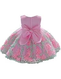 K-youth Vestido Niña Vestido de Encaje Sin Mangas Tutú Princesa Vestido Bebé Niña Verano Ropa Niña Vestido Bebe Niña Bautizo Boda Flores Fiesta Ceremonia Vestido de Princesa