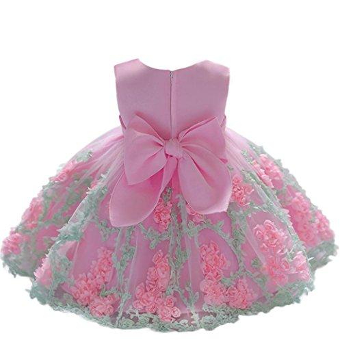 K-youth Vestido Niña Vestido de Encaje Sin Mangas Tutú Princesa Vestido Bebé Niña Verano Ropa Niña Vestido Bebe Niña Bautizo Boda Flores Fiesta Ceremonia Vestido de Princesa (Rosa, 6-12 Meses)