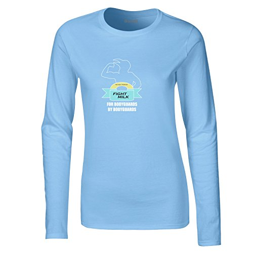 Brand88, Fight Milk, Dames t-shirt à manches longues Bleu Clair