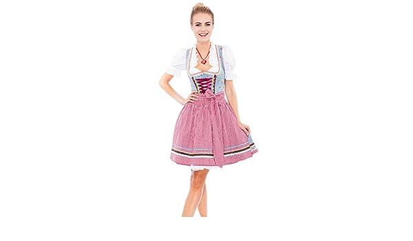 Krüger Mini Dirndl NEW Strawberry 50er Länge Kleid Trachten rot Trachtenkleid