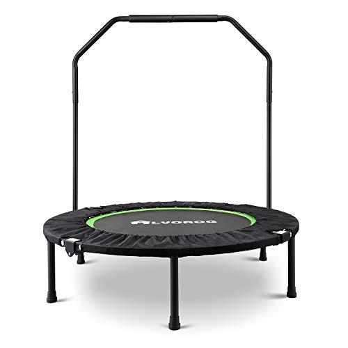 alvorog Indoor Fitness Trampolin Faltbar mit Haltestange, für Jumping Fitness für Zuhause Ø101 cm, bis 120KG