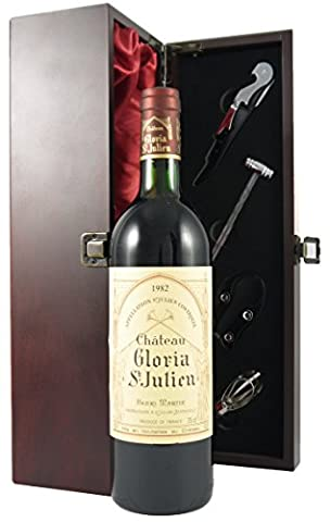 Chateau Gloria St Julien 1982 Vintage Wine presented in a silk lined wooden box with four wine