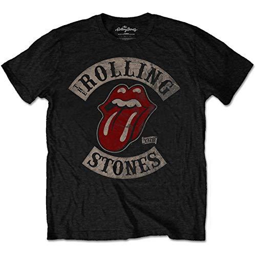 Rolling Stones Tour 78 Mens Blk TS Camiseta, Negro (Black), Large...