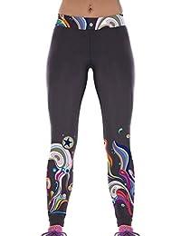 Lovelife' Women Colorful Seaweed Digital Printed Yoga Workout Capri Leggings