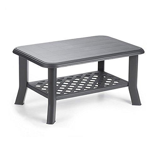 Mojawo Gartentisch Kunststoff 90x60cm Anthrazit rechteckig Balkontisch Gartentisch Couchtisch Beistelltisch Terrassentisch Bistrotisch