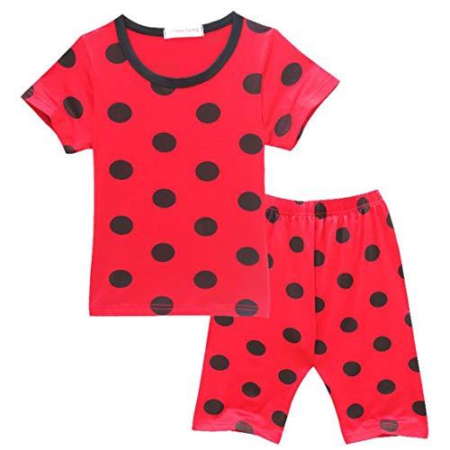 Polka Kostüm Kinder Dot - Wetry - Kinder Prinzessin Schwarzes Polka Dot Nachthemd Marienkäfer Kostüm Party Cosplay 2er Set - Oberteile + Hosen