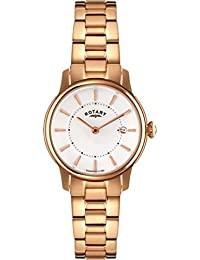 Rotary Women's Quartz Watch with White Dial Analogue Display and Rose Gold Stainless Steel Bracelet LB02774/02