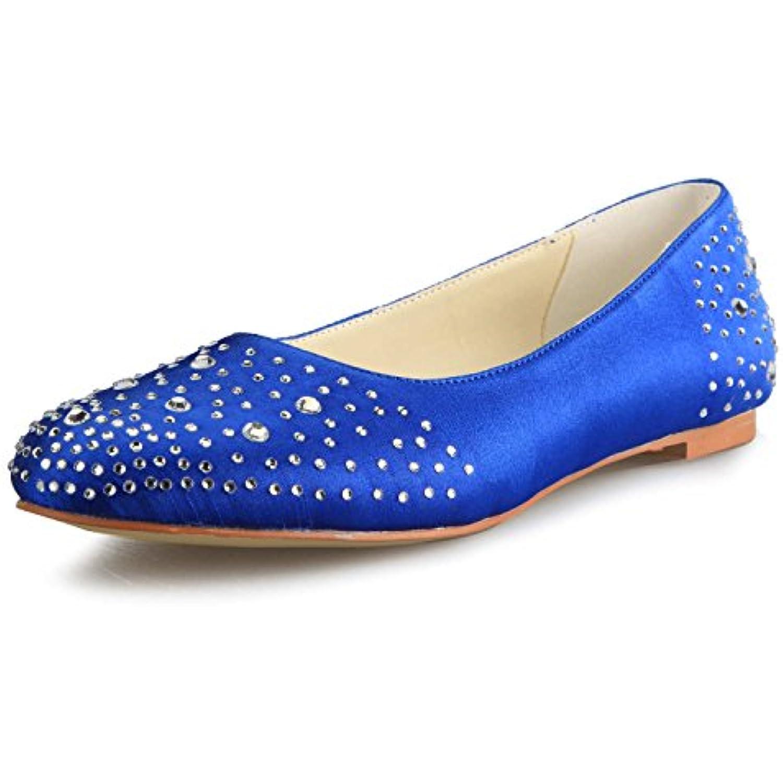 JIA JIA JIA JIA Chaussures de Mariée Pour Femme 5372 Bout Fermé Satin Flats Strass Chaussures de Mariage - B0799C3RJR - e5fe19