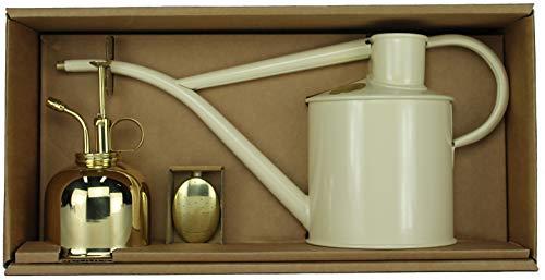 Haws Zimmergießkanne Beige 1 L und Pflanzensprüher Messing 300 ml im Geschenk Set