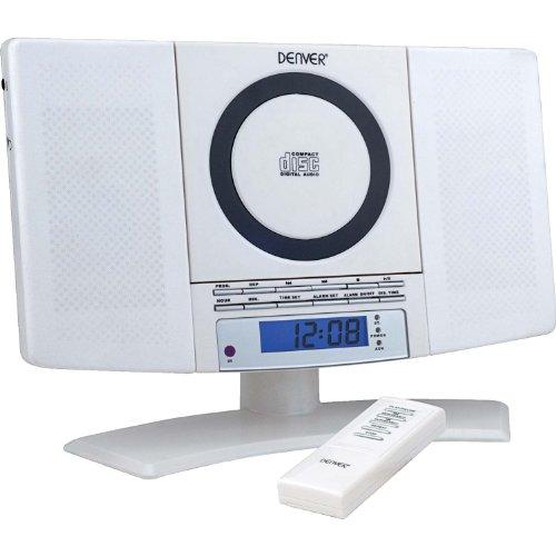 Denver 12120550 Musik-Center (vertikaler CD-Player mit LCD-Display, AUX-In, Wandhalterung, Weckerradio) weiß