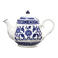 ufengke 22oz Blue and White Porcelain Tea Pot,Ceramic Tea Pot for Kungfu Tea,Blue Flowers Ceramic Coffee Pot
