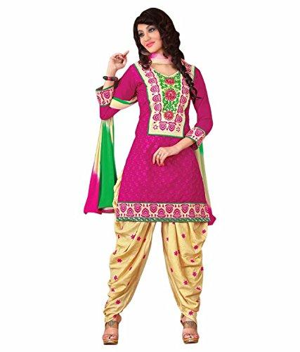 Tangerines Purple Color Cotton Unstitched Salwar Kameez Embroidered Dress Material