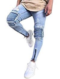 Pantalones Ocasionales De Los Hombress De Los Pantalones Vaqueros Ropa Del  Cierre Del Motorista Delgado Pantalones f75c29462a4