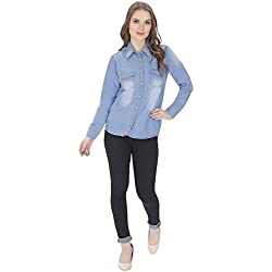 Full Sleeves Casual Light Blue Denim Shirts For Womens/Girls XL- By Cloth Fusion