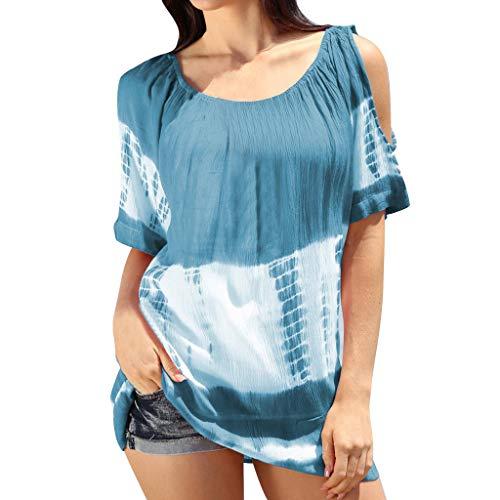 BCFUDA Bluse Frauen Mode Kurzarm Top Lose Atmungsaktiv Block Top Öffnen Sie die Schulter O-Ausschnitt Urlaub Casual Strandhemd