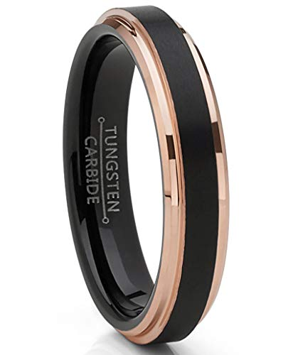 Metal Masters Co.Wolframkarbid Hartmetall schwarz gebürstet Ehering Roségold plattiert Ring 4mm