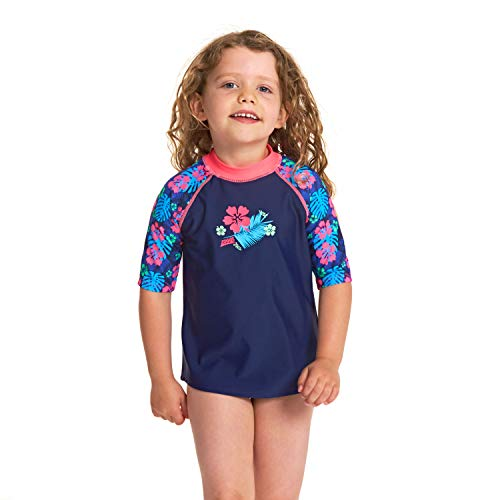 Zoggs Mädchen Kona Short Sleeve Sun Top Shirt Mit Uv-Schutz, blau, 4 Jahre