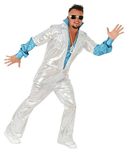 Outfits Disco Jahre 70er (Foxxeo 40114 | 70er Jahre Disco Anzug für Herren Karneval Fasching Party weiß türkis Gr. M - XXL,)