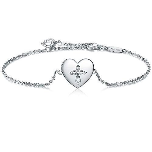 Damen Armband Kreuz Engel Anhänger 925 Sterling Silber, Verstellbar Charm Herz Armbänder, weiss, rhodiniert -