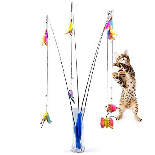 katzeninfo24.de Tofern Federspielzeug Katzenangeln Spielangel Katzenspielzeug Spielzeugmäuse telekopisch, Schmetterling