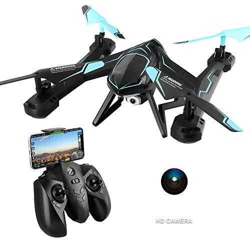 PowerLead RC Drone FPV VR WiFi RC Quadcopter 2.4GHz Giroscopio de 6 Ejes Control Remoto Drone con Cámara HD 2MP (Negro)