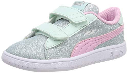 Puma Baby Mädchen Smash v2 Glitz Glam V Inf Sneaker Blau (Fair Aqua-Pale Pink Silver White), 25 EU
