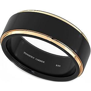 Luxuriöser Herren-Ring aus Wolframcarbid mit Roségold, unisex, für Hochzeit / Verlobung, 8mm (in den meisten Größen erhältlich)