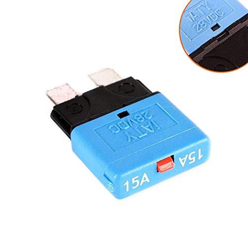 15-A-Sicherung 12 V / 24 V für Kfz-Kfz-Kfz-Sicherungshalter mit rücksetzbarem Inline-Sicherungshalter Schutz Stereo Manuelles Zurücksetzen - Blau Atc-type Fuse