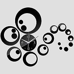 Idea Regalo - Clock Orologio da Parete Fai da Te Specchio Circolare Orologio Decorazioni da Parete Adesivo Tridimensionale da Parete Ornamenti Creativi Moderni Luoghi Pubblici,Black