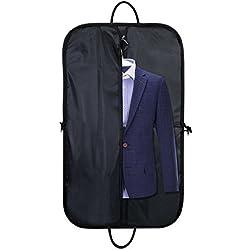 Housses Costumes Voyage Pliable Imperméable à poignées Sac Protection Vêtements en Oxford Business pour Transport Chemises Pantalons Cravates Hommes Femmes avec Crochet pour Cintre 100 x 60 cm, Noir