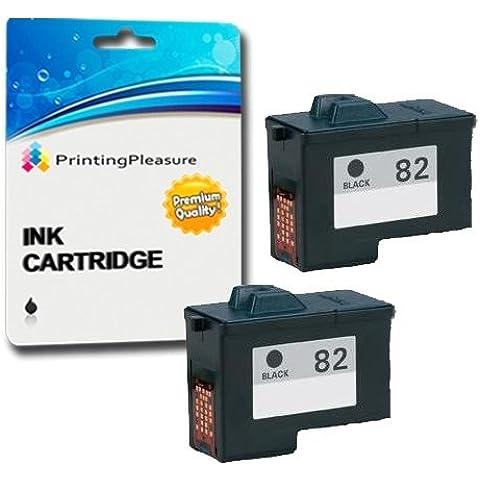 2 Compatibili Lexmark No. 82 Cartucce d'inchiostro per Lexmark X5100 X5130 X5150 X5190 X5200 X6100 X6150 X6170 X6190 X65 Z55 Z55se Z65 Z65n Z65p - Nero, Alta Capacità