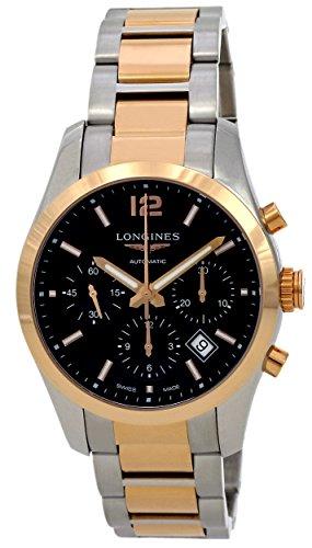 Longines Conquest Classic Cronografo Automatico in acciaio e oro rosa 18 carati