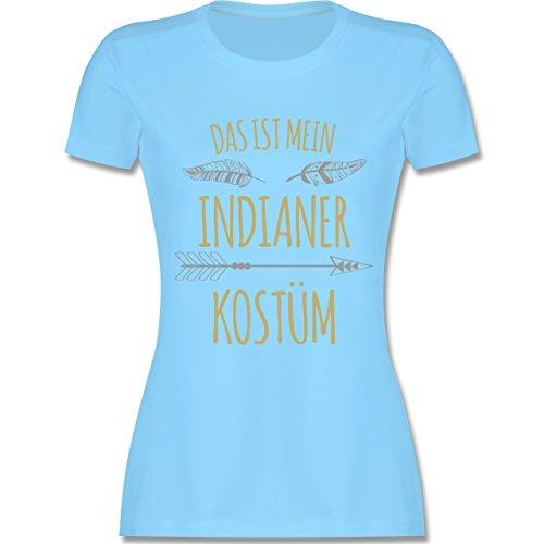 Shirtracer Karneval & Fasching - Das ist Mein Indianer Kostüm - Damen T-Shirt Rundhals Hellblau