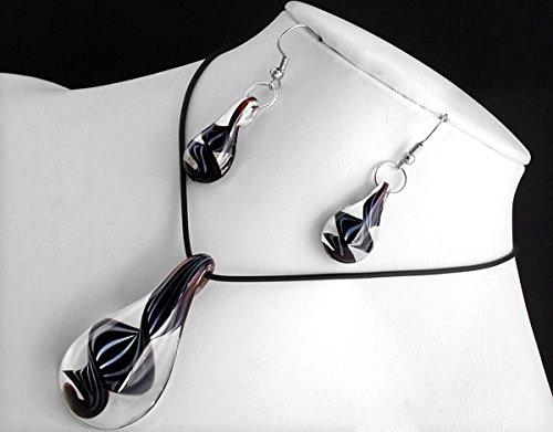 Ecloud Shop Schwarze Tropfen förmige Murano Glas Anhänger Halskette Ohrringe