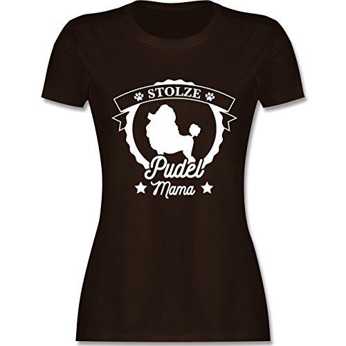 Hunde - Stolze Pudel Mama - Damen T-Shirt Rundhals Braun