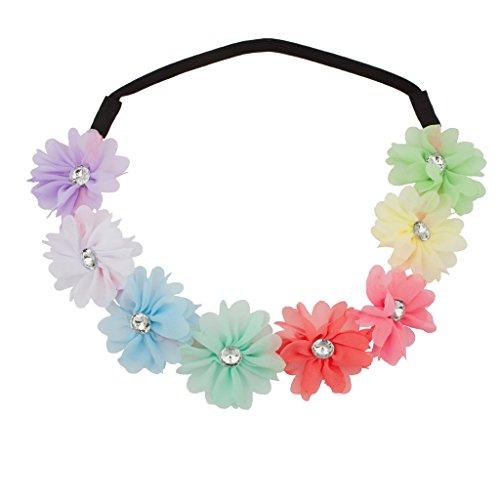 farbig Regenbogen Blumig Blume Kristall Stretch Haarband Kopfband (Kleinkind-partei-bevorzugungen)