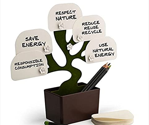 9pig® Desk Tree Bonsai Stationery/Office Notes Folder Pen Holder/Message Block Organize Notepads/5 Flower Magnetic Clip+Green Leaf Papers