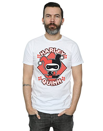 DC Comics Hombre Chibi Harley Quinn Badge Camiseta Large Blanco