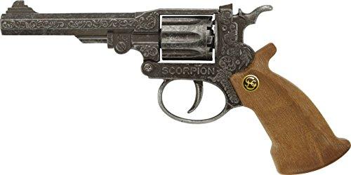 J.G.Schrödel Scorpion antik: Spielzeugpistole für Zündplättchen-Munition, passend für Cowboys und Sheriffs, 8 Schuss, 22 cm, grau / silber (106 8271) (Kostüm Scorpion Für Kinder)