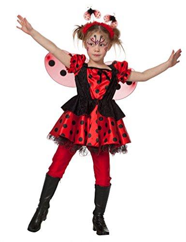 arienkäfer Kostüm Kinder Glücks-Käfer Kinder-Kostüm Marienkäfer-Kleid Mädchen Kostüm Karneval Mädchen-Kostüm Größe 128 ()