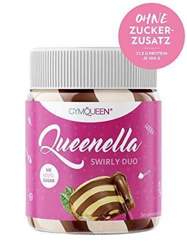 GymQueen Queenella 250g | Protein Creme mit 21,5{5acf7c8e2dcee6ade6c8e012bb274e863f1ab36271699368a94964c7bb54f72c} Eiweiß | Ohne Zuckerzusatz | Haselnusscreme mit weißer Schokolade | Brot-Aufstrich angereichert mit bestem Whey Protein | Swirly Duo